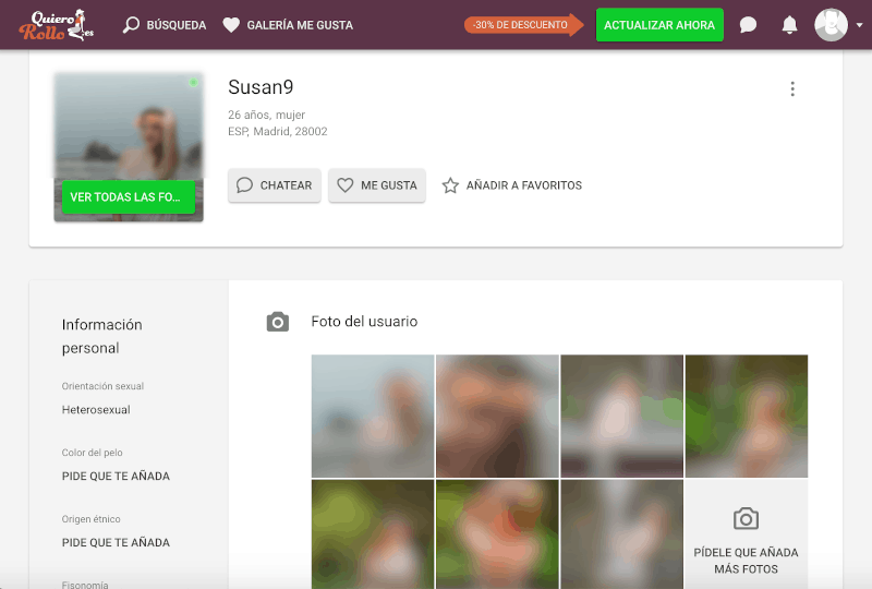 perfil de usuaio en quierorollo y fotos