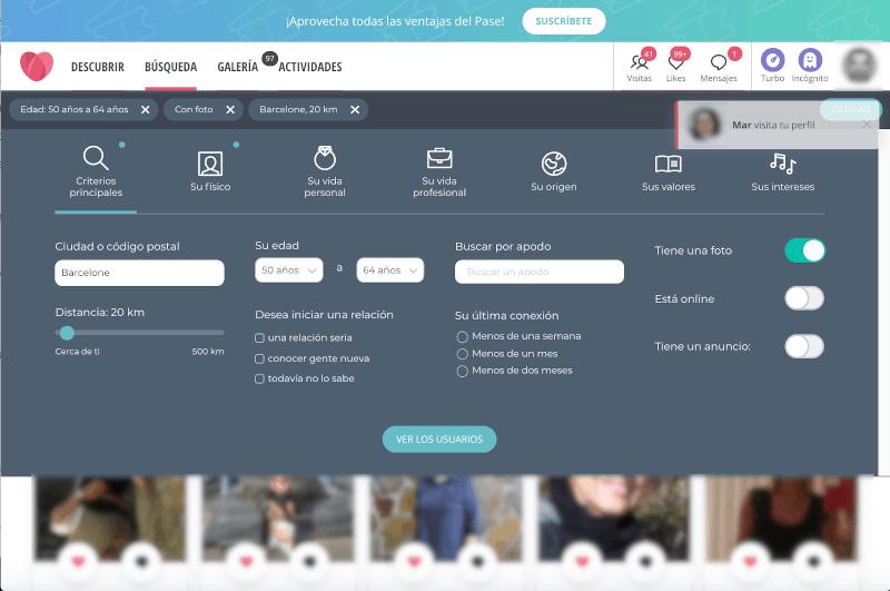 filtros de pesquisa avanzado para encontrar pareja compatible