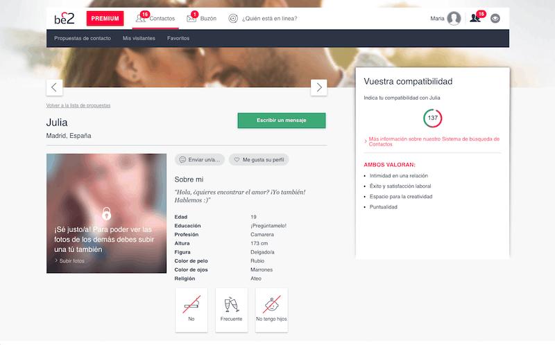 perfil personal de usuario con características físicas, psicológicas, álbum de fotos y porcentaje de compatibilidad